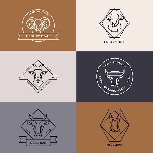 Logo der nutztiere symbole im linearen stil Premium Vektoren