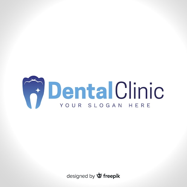 Logo der zahnklinik mit farbverlauf Kostenlosen Vektoren