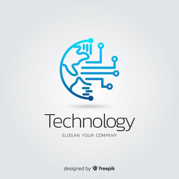 Logo des abstrakten technologieunternehmens mit farbverlauf Kostenlosen Vektoren