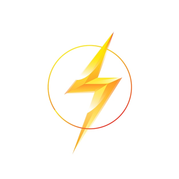 Logo des blitzes in einem kreis Premium Vektoren