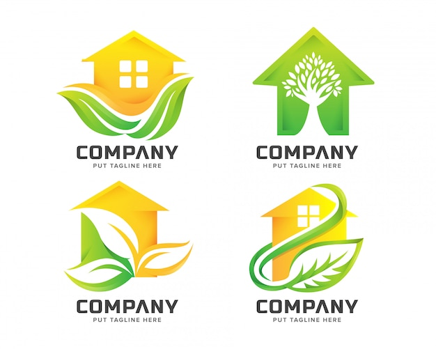 Logo des grünen hauses Premium Vektoren