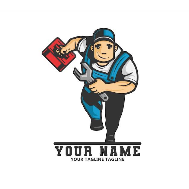 Logo des klempnermannes läuft und trägt einen schraubenschlüssel und eine schachtel ausrüstung in seiner hand Premium Vektoren