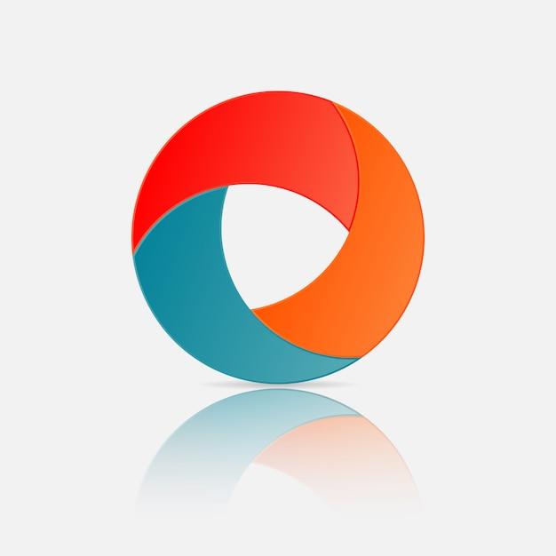 Logo des kreises 3d, kreis infographic-elementdesign mit steigungs- und papierschatteneffekt 3 wahlen oder schritte. Premium Vektoren