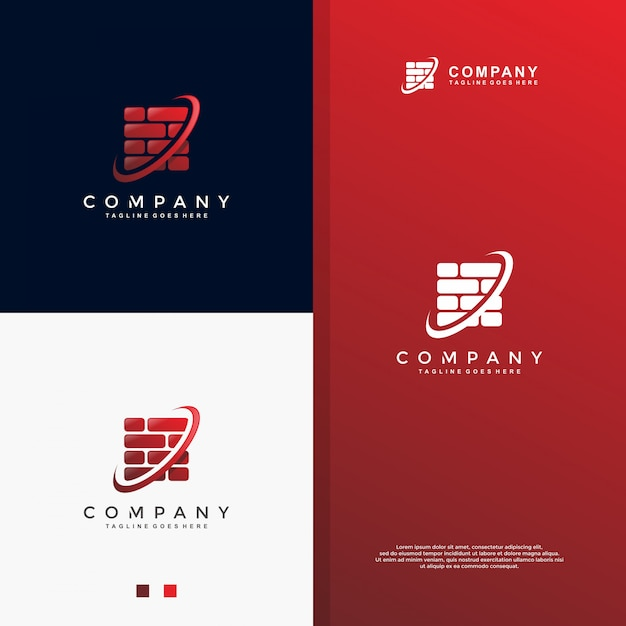 Logo des roten backsteins Premium Vektoren
