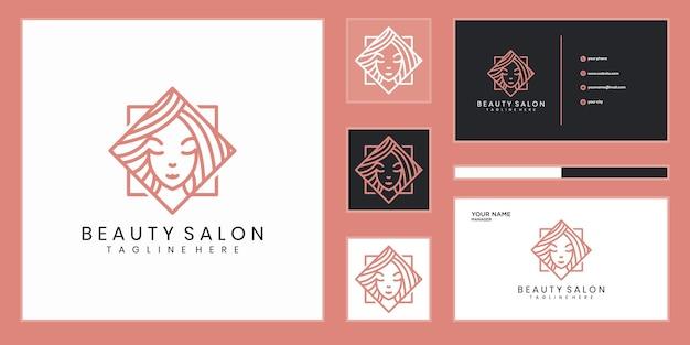 Logo-design der schönheitsfrauen mit linienkonzept Premium Vektoren