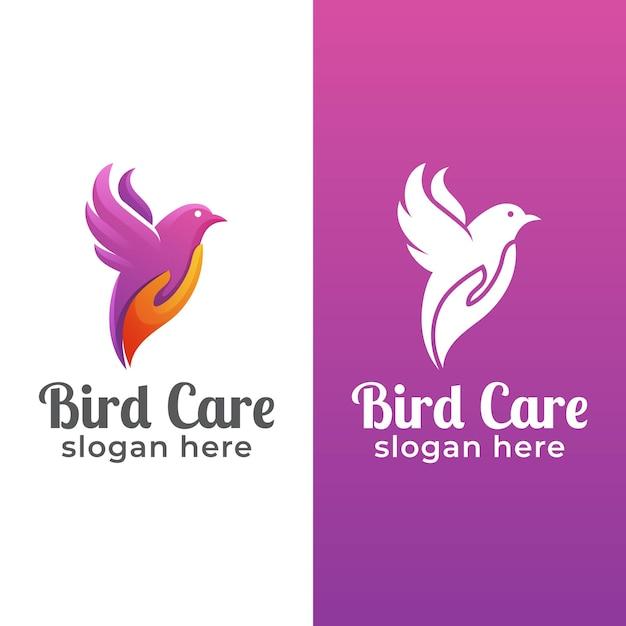 Logo-design der schönheitstiervogelpflege mit handform Premium Vektoren