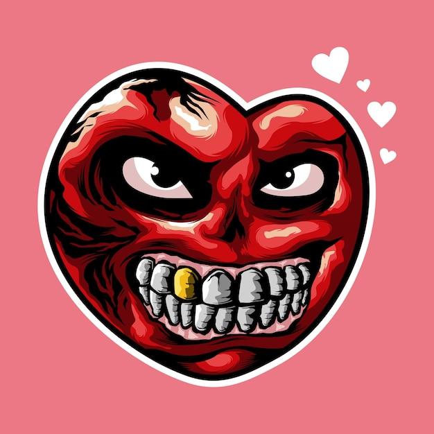 Logo-design des bösen herzens lokalisiert auf rosa Premium Vektoren