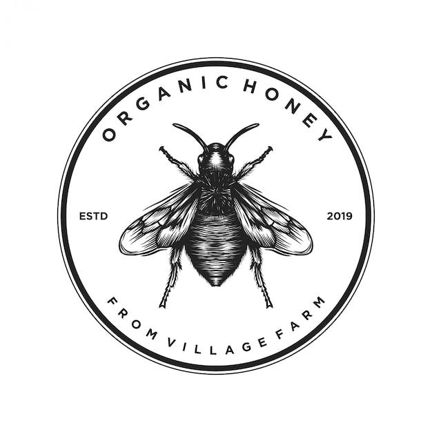 Logo-design für honigprodukte oder honigbienenfarmen Premium Vektoren