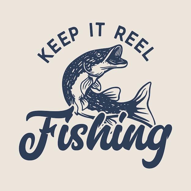 Logo-design halten es rollenfischen mit nordhechtfisch-weinleseillustration Premium Vektoren