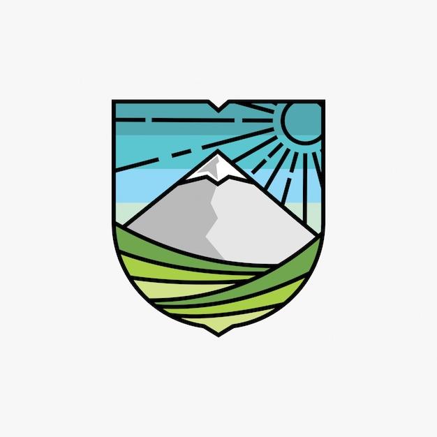 Logo-design-inspiration für berge und weinberge Premium Vektoren