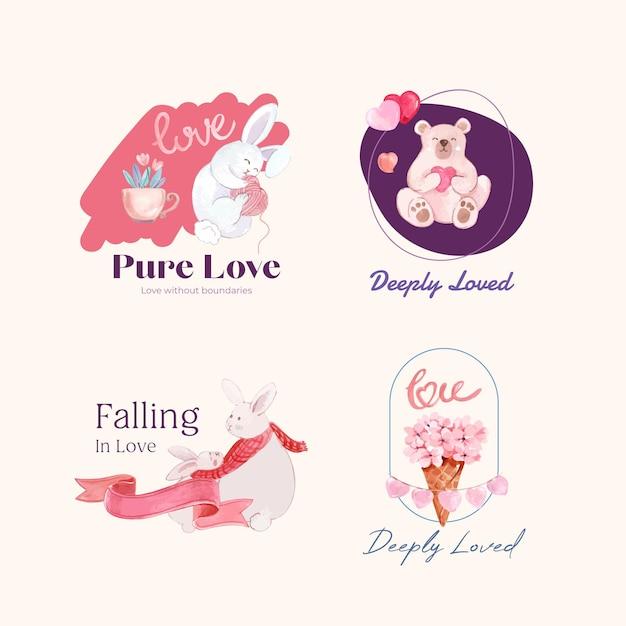 Logo-design mit liebevollem konzept für marken- und geschäftsaquarellillustration Kostenlosen Vektoren