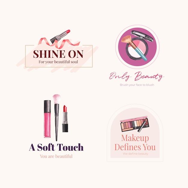 Logo-design mit make-up-konzept für branding und marketing aquarell. Kostenlosen Vektoren