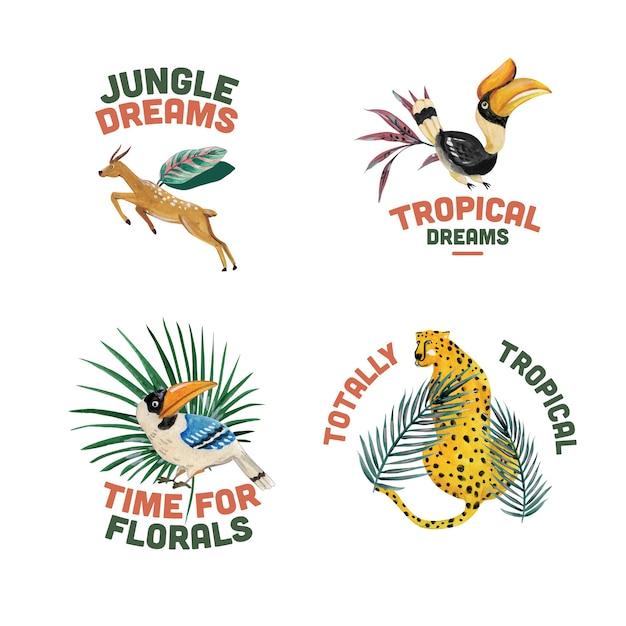 Logo-design mit tropischem zeitgenössischem konzept für das markieren und vermarkten der aquarellillustration Kostenlosen Vektoren