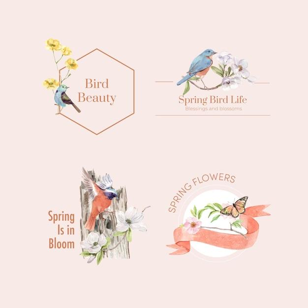 Logo-design mit vogel- und frühlingskonzept Kostenlosen Vektoren