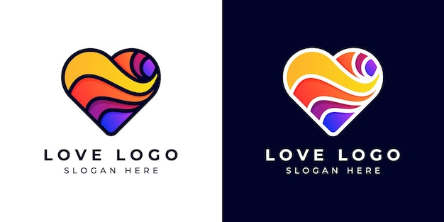 Logo design moderne liebe oder herz bunt oder farbverlauf Premium Vektoren