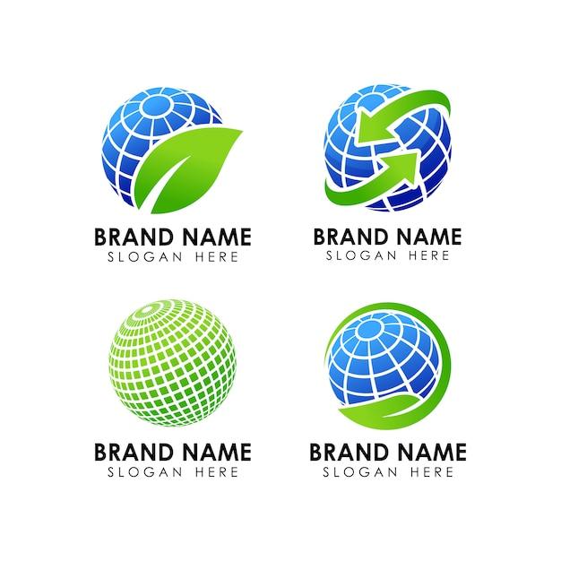 Logo-design-vorlage für grüne erde Premium Vektoren