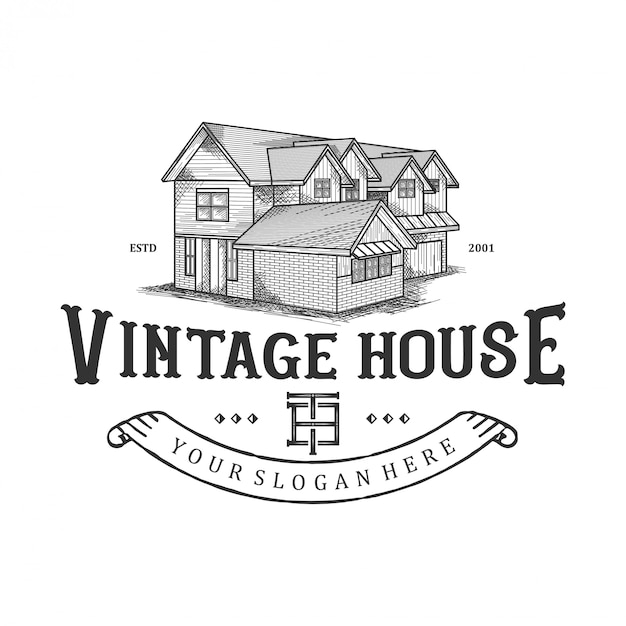 Logo für alte häuser, traditionelle häuser, immobilien Premium Vektoren