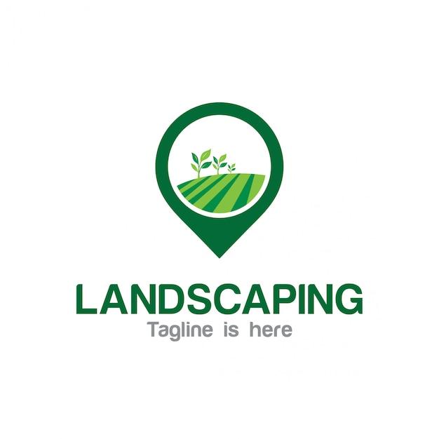 Logo für die landschaftsgestaltung Premium Vektoren