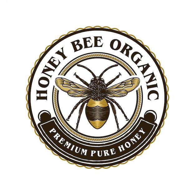 Logo für honigprodukte oder honigbienenfarmen Premium Vektoren