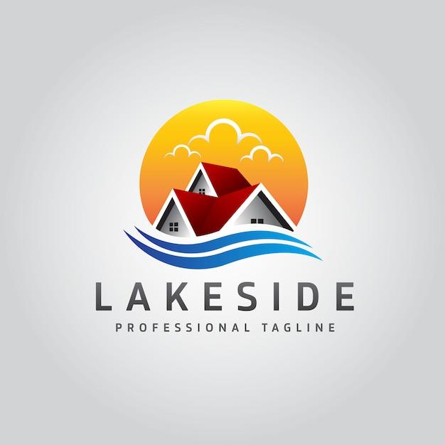 Logo für immobilien am seeufer Premium Vektoren