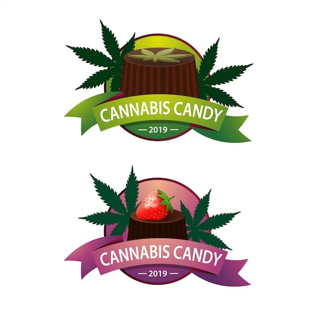 Logo für pralinen mit cannabis für ihre kreativität Premium Vektoren