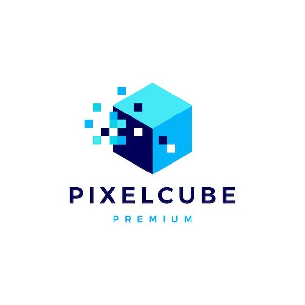 Logo-ikonenillustration des pixelwürfelkastens digitale Premium Vektoren