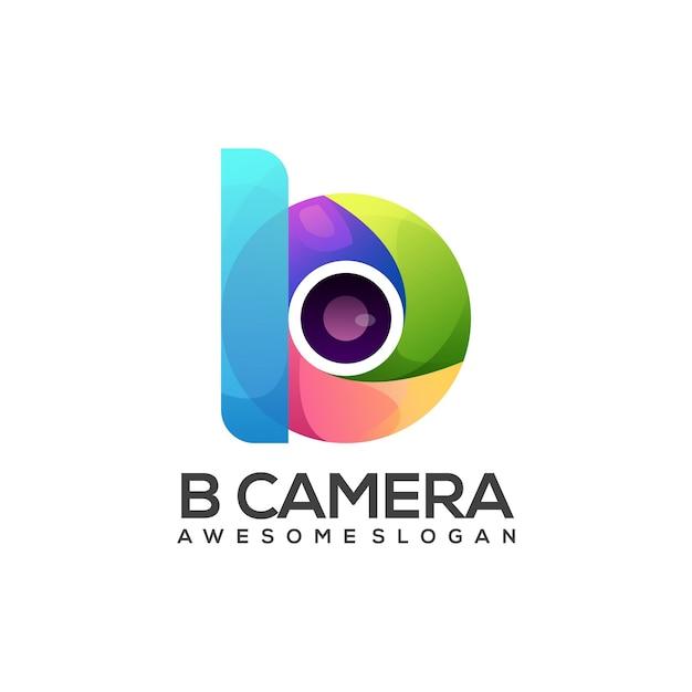 Logo illustration b brief mit kamera-farbverlauf bunt Premium Vektoren