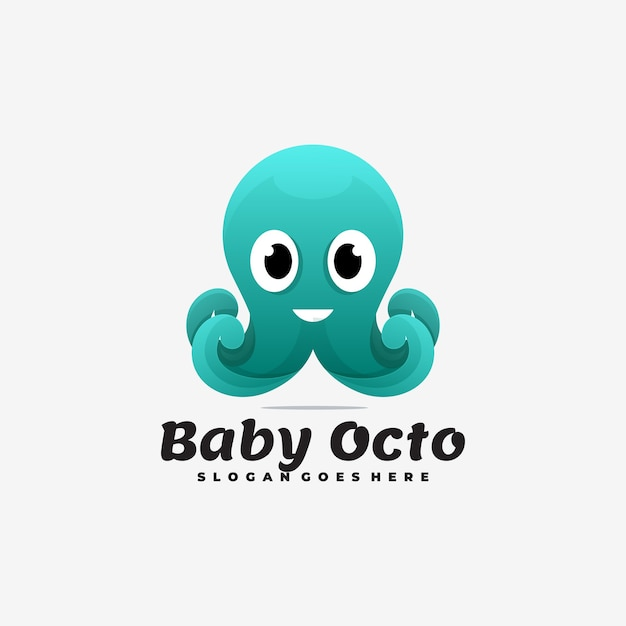Logo illustration baby octopus gradient bunter stil. Premium Vektoren