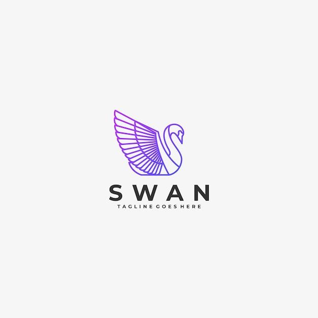 Logo illustration bird gradient line art Premium Vektoren