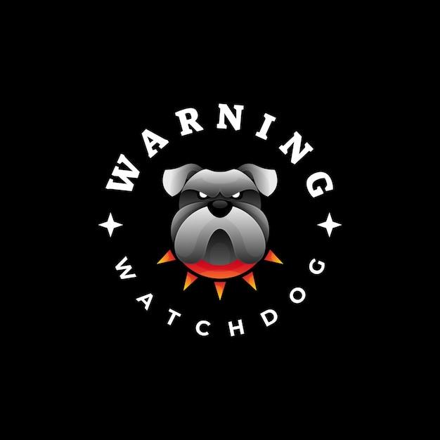 Logo illustration bulldogge farbverlauf bunter stil. Premium Vektoren