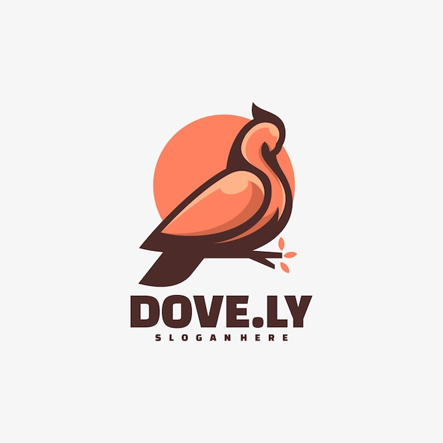 Logo illustration dove simple mascot style. Premium Vektoren