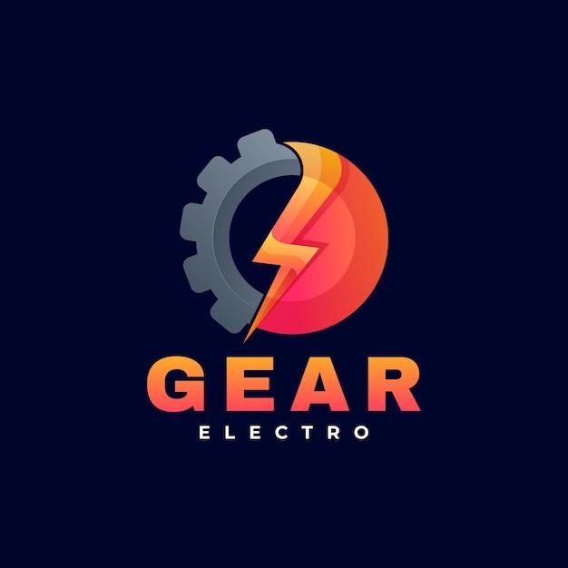 Logo illustration gear gradient bunter stil. Premium Vektoren