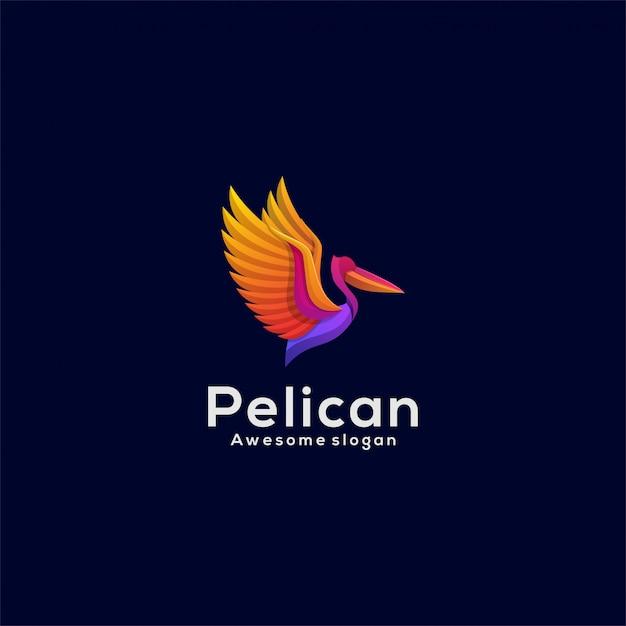 Logo illustration pelican gradient bunter stil. Premium Vektoren
