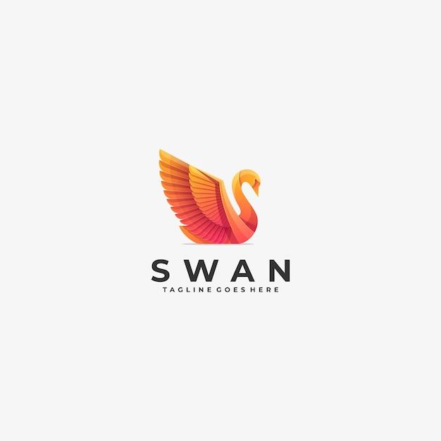 Logo illustration swan gradient bunt. Premium Vektoren