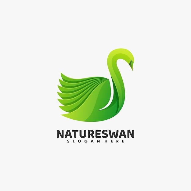Logo illustration swan gradient bunter stil. Premium Vektoren
