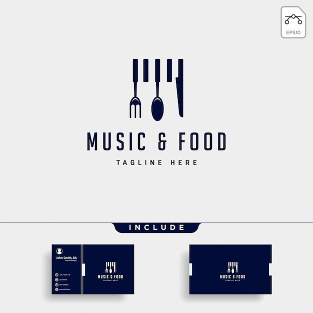 Logo-illustrations-ikonenelement des musiklebensmittels einfaches flaches Premium Vektoren