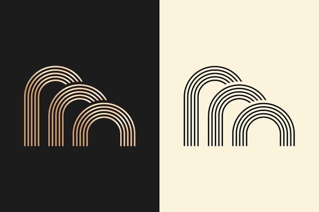 Logo in zwei versionen abstraktes design Kostenlosen Vektoren