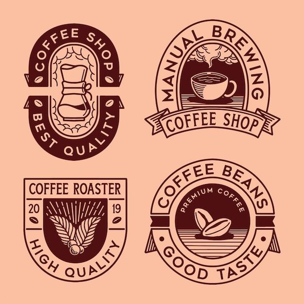 Logo kaffee sammlung Premium Vektoren