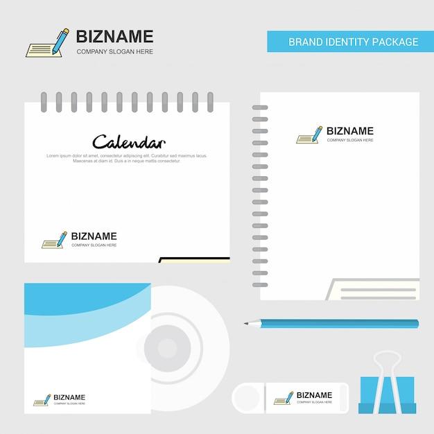 Logo, kalendervorlage, cd-cover, tagebuch und usb-marke stationäre paketdesign-vektor-vorlage schreiben Kostenlosen Vektoren