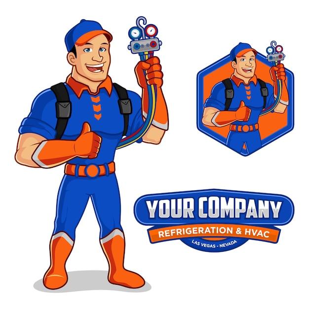 Logo maskottchen für kältetechnik & hlk-unternehmen Premium Vektoren