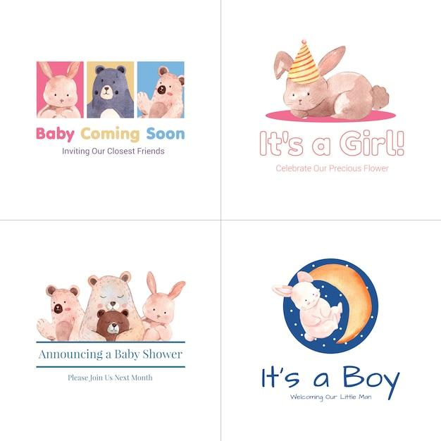 Logo mit babyparty-entwurfskonzept für marken- und marketingaquarellvektorillustration. Kostenlosen Vektoren