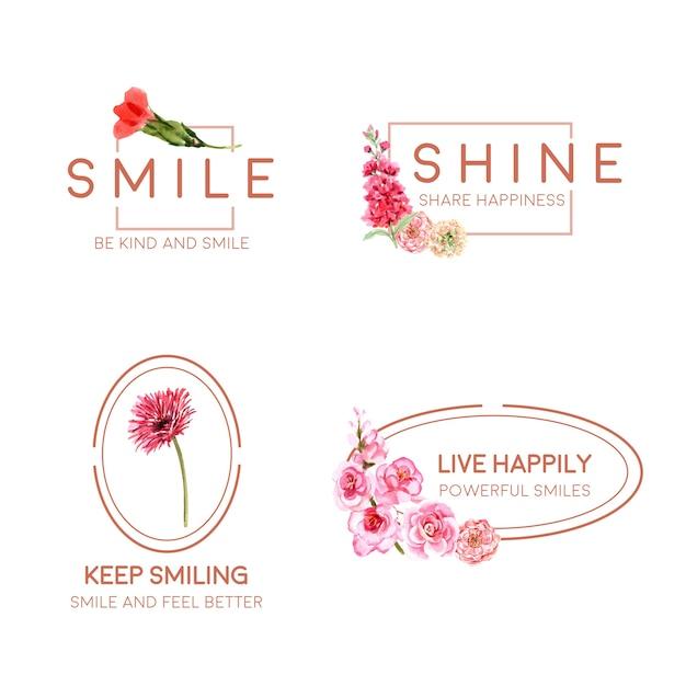 Logo mit blumenstraußentwurf für weltlächeltagkonzept zum branding und zur vermarktung der aquarellvektorillustration. Kostenlosen Vektoren
