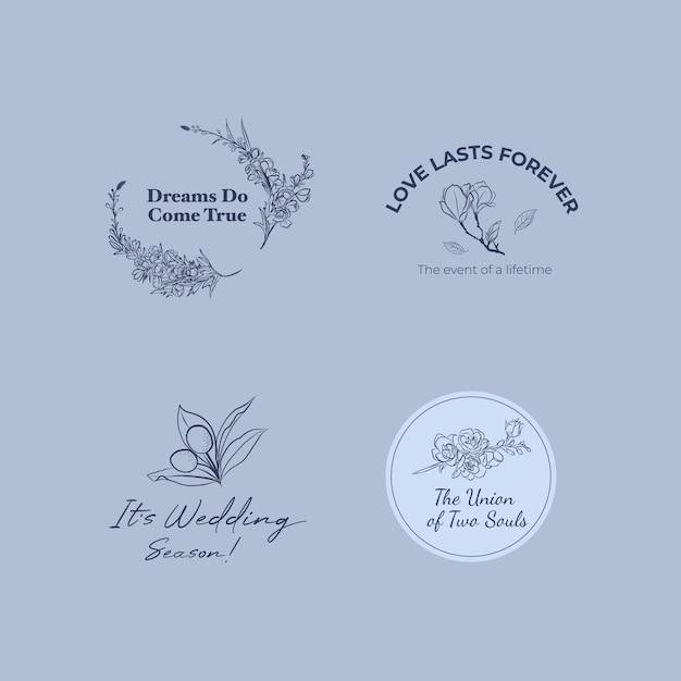 Logo mit hochzeitszeremonie für branding und ikone Kostenlosen Vektoren