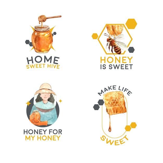 Logo mit honig für branding und marketing aquarell Kostenlosen Vektoren