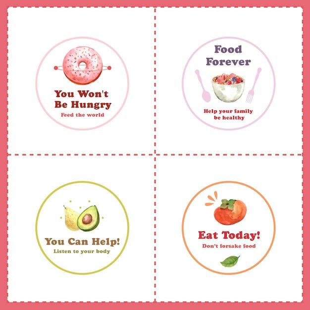 Logo mit konzeptentwurf des welternährungstages für restaurant- und markenaquarell Kostenlosen Vektoren