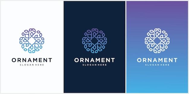 Logo mit runder blumenverzierung Premium Vektoren