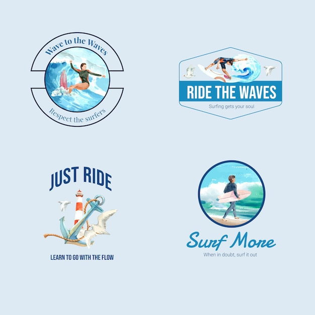 Logo mit surfbrettern am strand Kostenlosen Vektoren