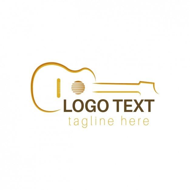 Logo mit umrissen Gitarre Kostenlose Vektoren