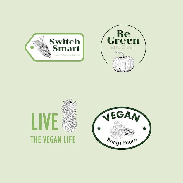 Logo mit veganem lebensmittelkonzeptdesign für marke. Kostenlosen Vektoren
