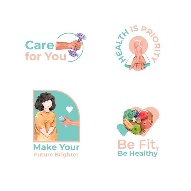Logo mit weltdiabetestag für branding und symbolaquarell Kostenlosen Vektoren